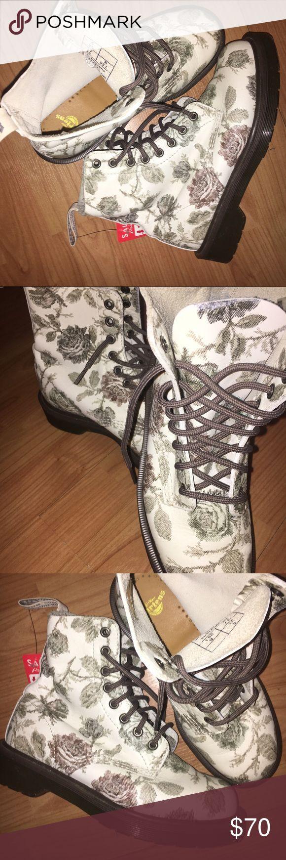 Floral doc marten boots Never worn floral printed docs! doc martens Shoes Combat & Moto Boots
