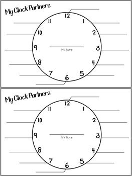 Clock Partners Student Sheet                                                                                                                                                                                 More