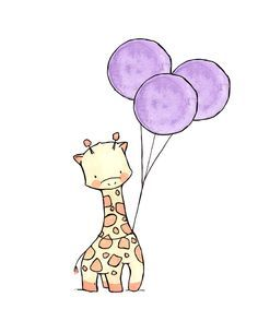 cartoon giraffe with balloon pinterest - Google Search