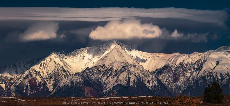 A New Snowfall - An imminent approach of a snow fall. Yes, in about an hour or so it was snowing in that area of the mountains. It looked awesome! This is a 5 images stitched pano taken in Eastern Sierras Nevada mountains range, central valley of California.