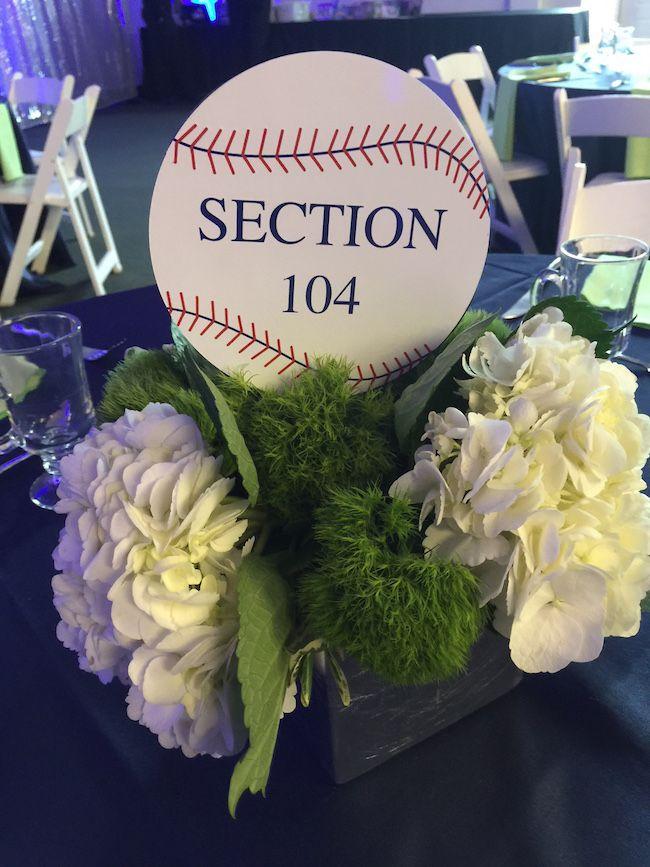 Baseball themed centerpiece