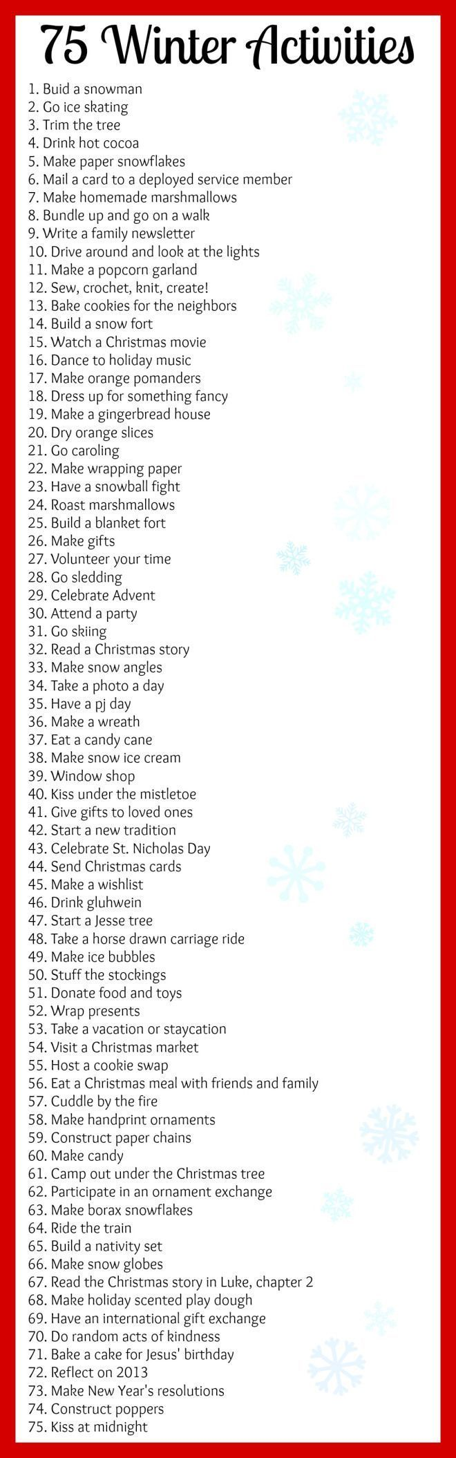 75 Winter Activities for the bucket list or to fill an advent calendar!
