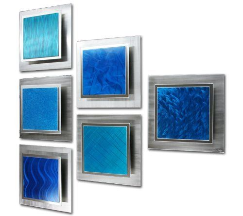 Contemporary Wall Decor Noia 6 Triangle 45x45 In Blue Metal