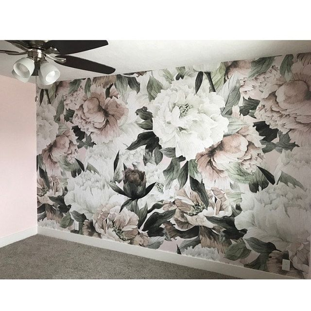 Floral Nursery Girl Wallpaper Watercolour Peony Peel And Stick Wallpaper Vintage Flower Removable Wallpaper Mural Bedroom Decor Boho 178 Boho Bedroom Decor Patterned Paint Rollers Girl Nursery Wallpaper