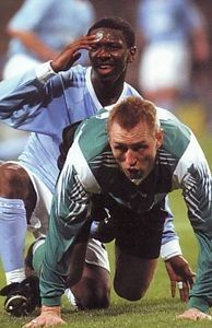 Man City 1 G. Dyskabolia 1 in Nov 2003 at the C & M Stadion. Shaun Wright-Phillips can't believe his luck in the UEFA Cup 2nd Round, 1st Leg.