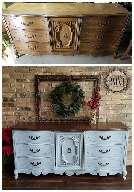 For Love of the Paint: Before and After : 9 Drawer Bassett French Provincial Dresser in Annie Sloan Chalk Paint Louis Blue and General Finishes Antique Walnut Gel Stain. A gorgeous combination for your DIY or upcycle project, perfect for a modern vintage, farmhouse style, or shabby chic home decor!