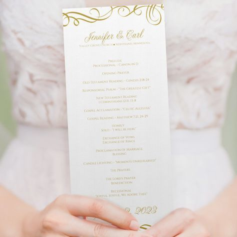 Wedding Program Template | Elegant Swirls (Gold) Tea Length