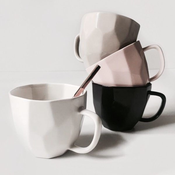 Modern mugs - white, pink, grey & black, Danish design