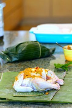 Ayam Betutu Balinese Chicken Wrapped In Banana Leaves