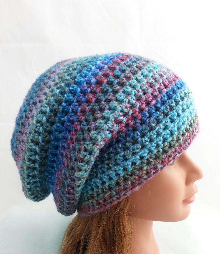 womens slouch hat, woman hat, girls crochet slouchie beanie, blue slouch hat, vegan friendly slouchie beanie, warm hat, adult hats, 1517 by crochetHQ on Etsy