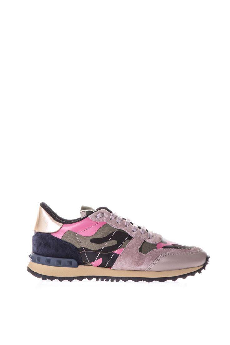 VALENTINO GARAVANI | Valentino Garavani Valentino Garavani Rockrunner Pink Suede & Canvas Sneakers #Shoes #Sneakers #VALENTINO GARAVANI