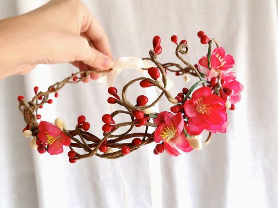 red wedding flower headpiece, pink cherry blossom, red flower hair accessory - GALWAY GIRL - flower girl accessory, bridal head wreath