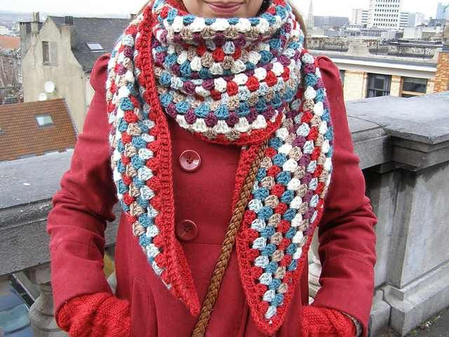 """Got leftover yarn? This beautiful and snuggly Granny Shawl pattern by Charlene Van den Brande will blow your mind! A fun project for using up leftovers this lovely shawl pattern with shaped ends makes a great gift for someone who loves all things """"granny."""" Simple, quick, beautiful, this is a fun scarf project to help …"""