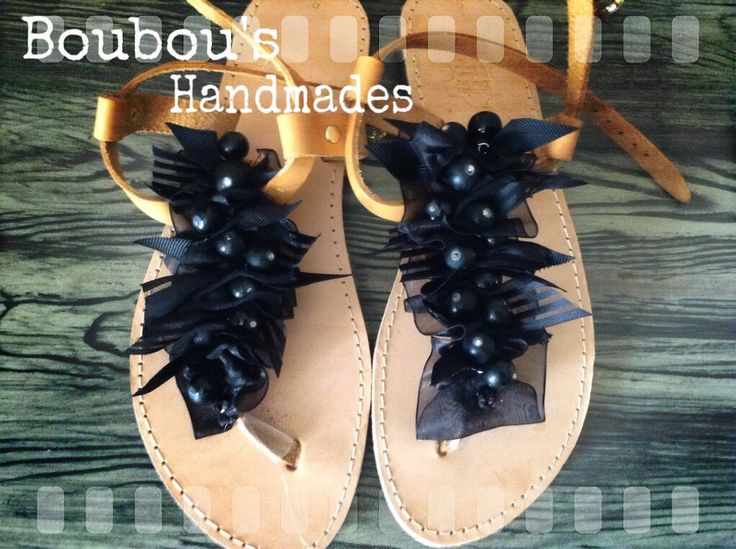 Handmade leather sandals! Total black ! DIY