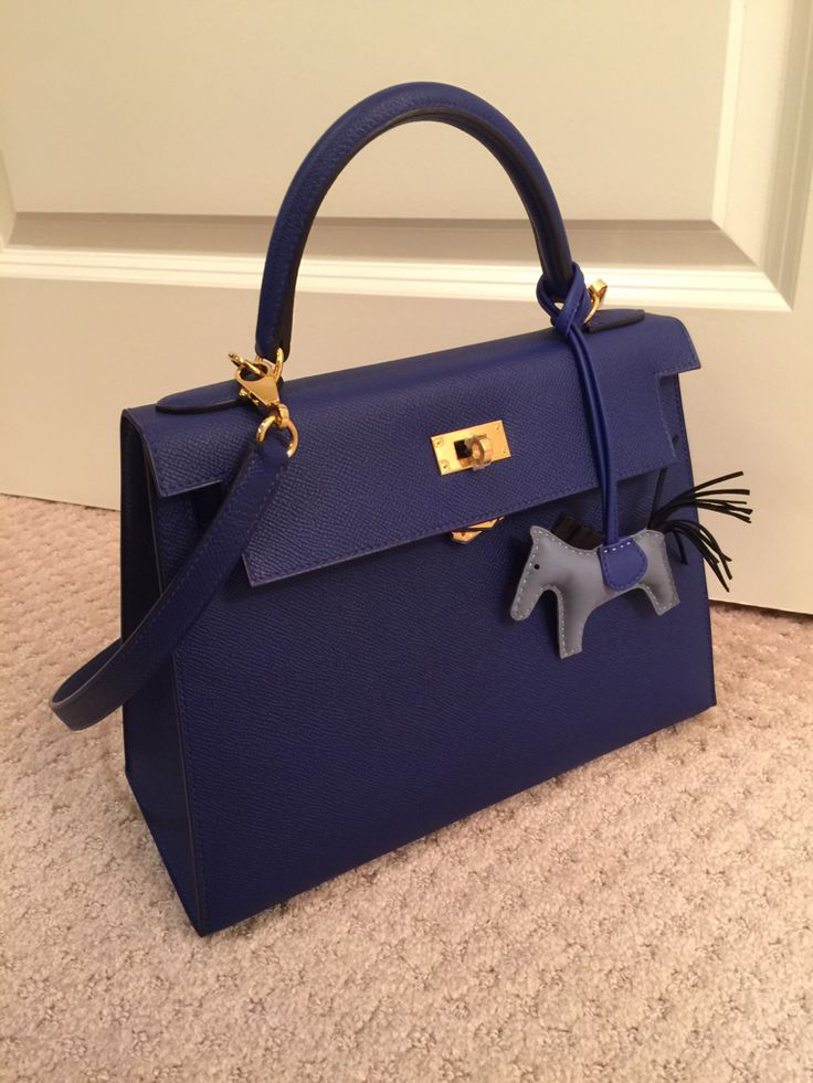 Hermes blue Kelly bag.