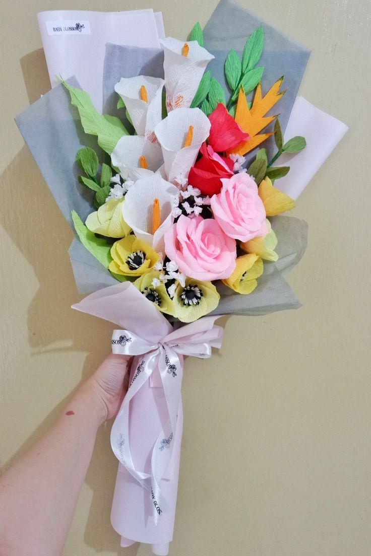 Mom's customer birthday gift by Baby Blossom Instagram @bungakertas_jakarta Personal IG @sheilasicilia #crepepaperflower #italiancrepe