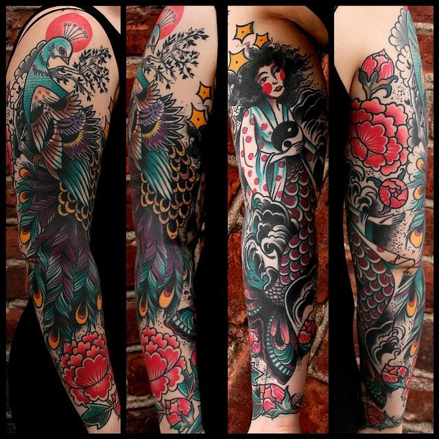 Peacock and Geisha Mermaid Tattoo Sleeve | DUBUDDHA.ORG