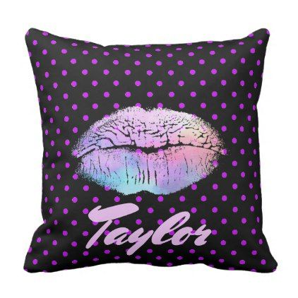 Purple Neon Lipstick Kiss with Purple polka dots Throw Pillow - lip gifts unique lips style cyo personalize