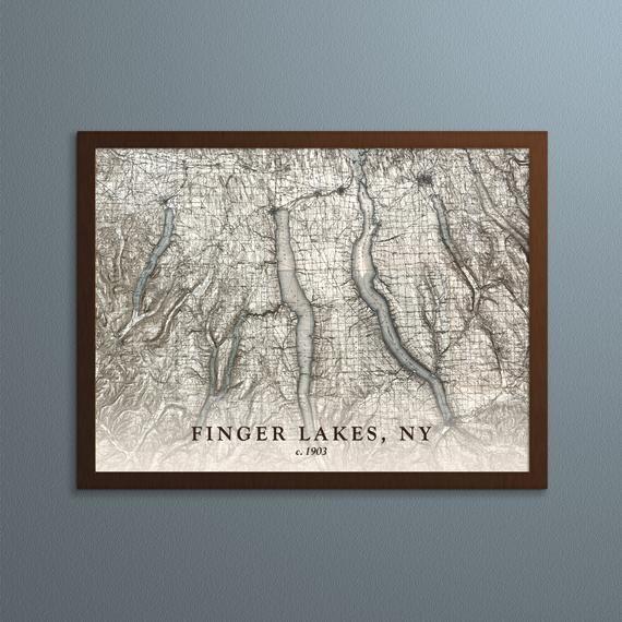 Finger Lakes Map Historical Topographic Map 1903 Historic Map Print Wall Decor Wall Art Wall Prints Lake Map Lake Art