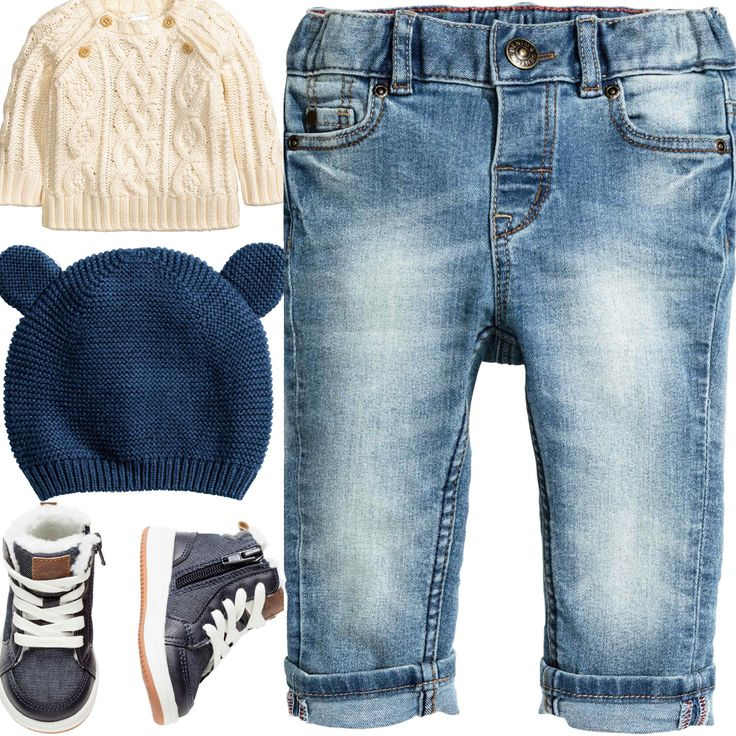 H&M baby boy outfit idea. White cable knit sweater, blue jeans, dark blue knitted hat and blue trainers. H&M winter 2017 collection.