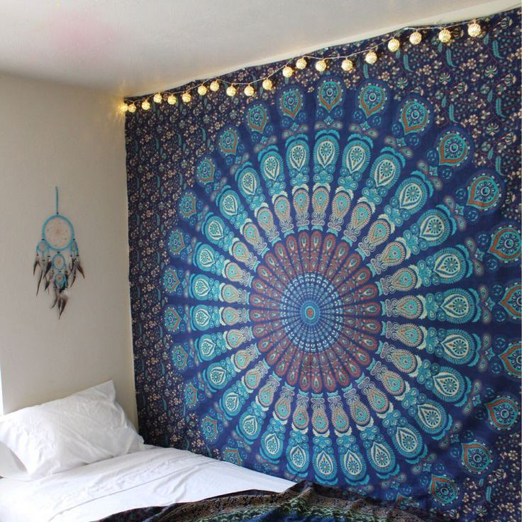 Hippie Mandala Tapestry Indian Blue Floral Psychedelic Medallion Tapestry Wall Hanging - RoyalFurnish.com