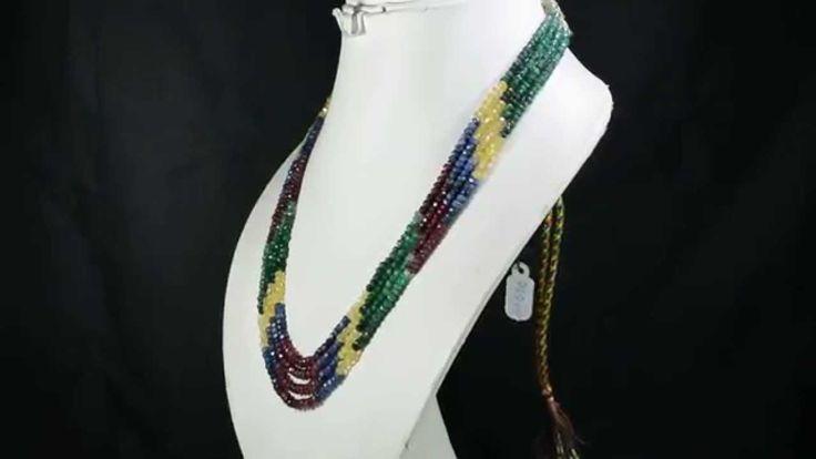 4 Strands Natural Ruby Emerald Sapphire 269ct Multi Row Gemstone Beads N...