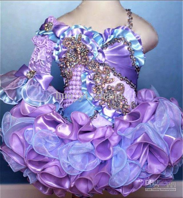 Glamorous for dress up or tea parties or masquerades. 2013 Cute Purple Blue Cupcake Little Girl Pageant Dresses Rhinestones Beaded GD04 2013 buy 1 get 2