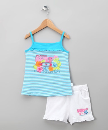 Take a look at this Blanco Gala Tank & Shorts - Infant, Toddler & Girls by dudu on #zulily today!