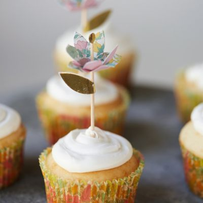 Liberty Floral Cupcake Toppers + Wrappers