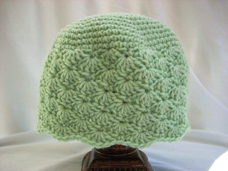 Woman's Spring Pale Green Hat, Adult Crochet Hat, Adult Pale Green Winter Hat, Crocheted Hats for Adults, Scalloped Design Crochet Hat by LiLphaniesLine on Etsy