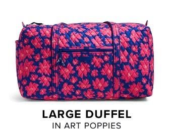 Vera Bradley Large Duffel in Art Poppies. Available now for Fall 2016 at Rogers Jewelers, Downtown Big Rapids!