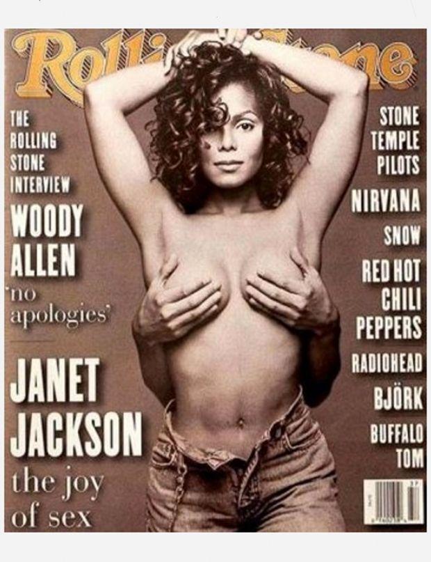 """Sorti de l'album """"Janet"""" en mai 1993, Janet Jackson délaisse son look de garçon manqué et militaire et se réinvente une image glamour et très sensuelle, preuve en est la célèbre couverture du Rolling Stone Magazine."""