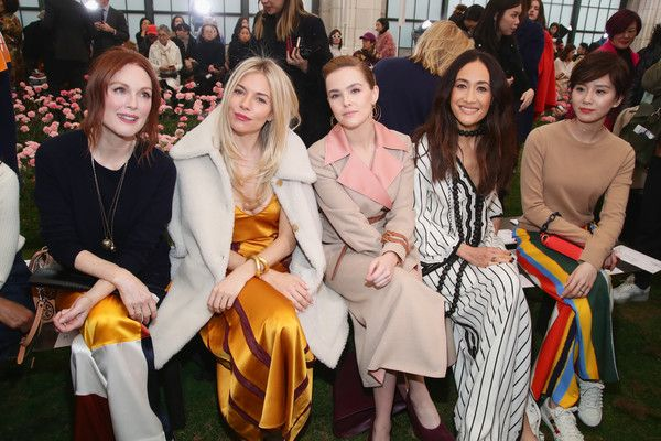 Sienna Miller Photos - (L-R)  Julianne Moore, Sienna Miller, Zoey Deutch, Maggie Q, and Liu Shishi attend the Tory Burch Fall Winter 2018 Fashion Show during New York Fashion Week at Bridge Market on February 9, 2018 in New York City. - Tory Burch - Backstage And Front Row - February 2018 - New York Fashion Week