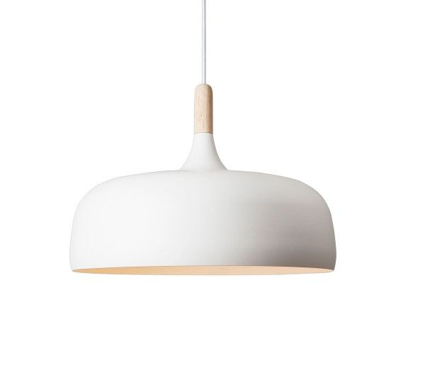 Acorn is a suspension lamp by designer Atle Tveit for Northern Lighting, aluminum shade and details in oak, upholstered in white silk cord. Acorn is a suspension lamp that looks simple and clean lines with a light diffusion warm and enveloping, it is perfect to romantic and essential rooms. It is inspired by the autumn season of the northern forests with a clear reference to the shape of the acorn to oak. Bulb: E27, max. 100 W, 220V - 240V ~ 50Hz - NOT INCLUDED.