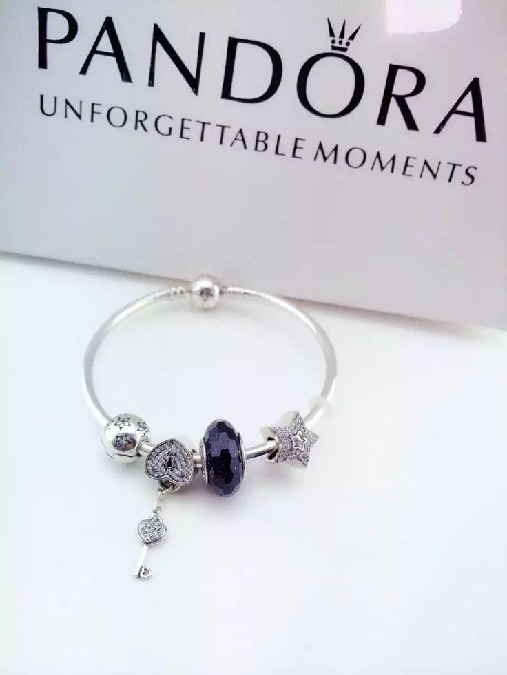 Pandora Bracelet Design Ideas 199 pandora charm bracelet pink hot sale Navy Sparkle Key Pandora Bracelet