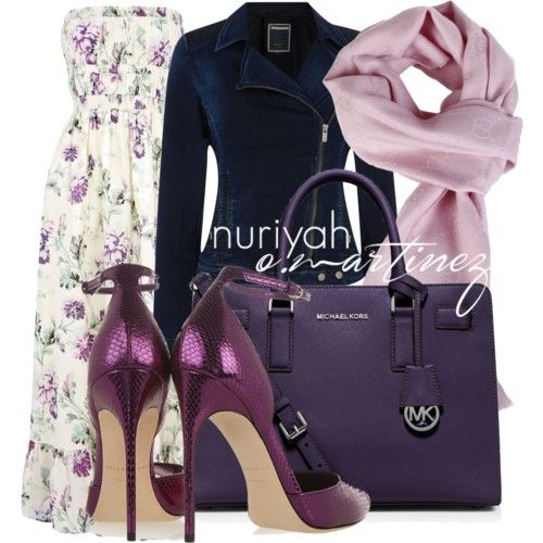 Hijab Outfit by Nuriyah O. Martinez      Warehouse floral dress €67 - houseoffraser.co.uk   Salsa biker jacket €190 - houseoffraser.co.uk   Brian Atwood high heel sandals €815 - net-a-porter.com   MICHAEL Michael Kors satchel bag €260 - bloomingdales.com   Gucci wrap shawl italist.com