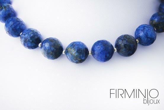 #Girocollo in #perle di #lapislazzuli sfaccettati ed inserti in #argento - dettaglio. #necklace with #lapis lazuli #pearls and #silver hooks. - detail. $123