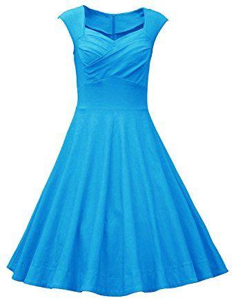 Vestido azul brillante, primavera verano