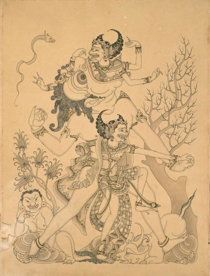 Asian Art Museum Education Department Hanuman's encounters with demons on his journey to Lanka, from the Balinese version of the Story of Rama, approx. 1900–1950, by I Gusti Nyoman Lempad, (Indonesian, 1862–1978). Ink on paper. Gift of Karen A. Signell, 1998.90.#HCFpost