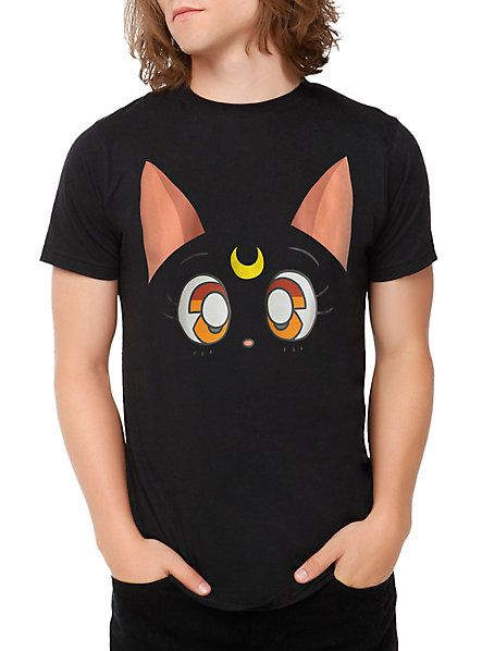 MOONIE MERCH OF THE DAY! An official Luna tee for the guys! http://www.hottopic.com/hottopic/Guys/Tees/PopCultureTees/Sailor+Moon+Luna+Face+T-Shirt-10310133.jsp #sailormoon #anime #luna
