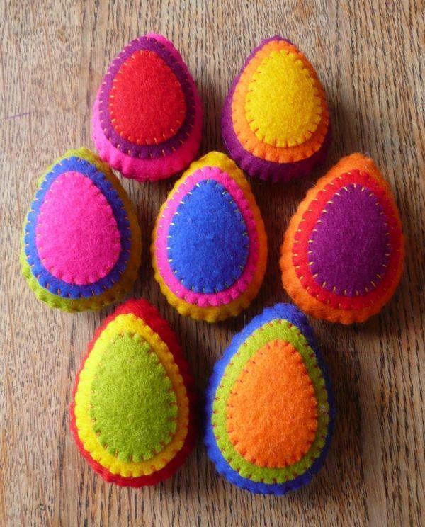 farbenfrohe Deko-Ostereier Ideen-mit Filz-basteln-mit Kindern