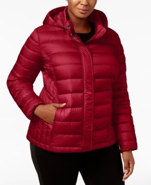 32 Degrees Plus Size Packable Puffer Coat - Red 0X