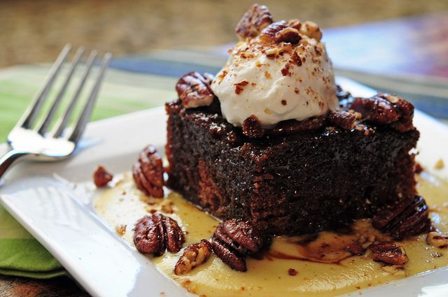 Whiskey cake recipe from Whiskey Cake in Dallas. Toffee torte with bourbon anglaise, spiced pecans and homemade whipped cream.