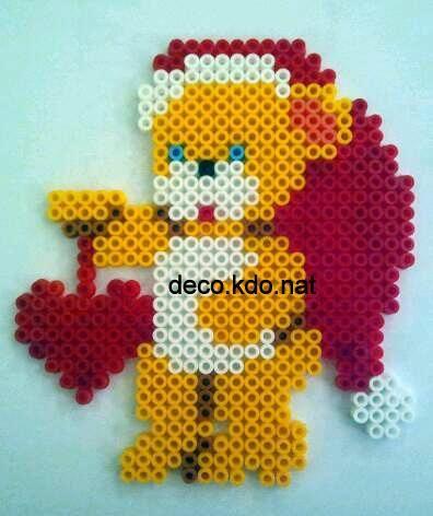 Christmas teddy hama perler beads by deco.kdo. nat
