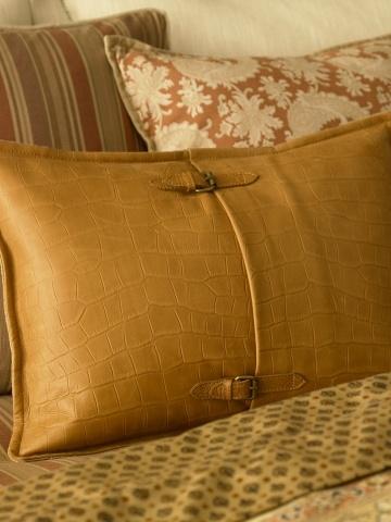 Ralph Lauren Home. Really nice tan Equestrian Croc leather pillow.