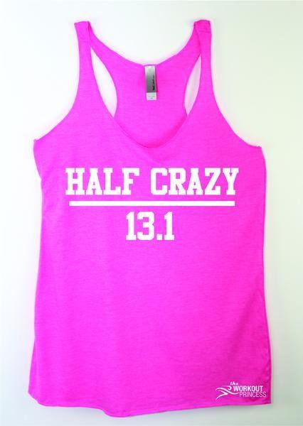Half Crazy 13.1 Woen's Running Tank Top , Marathon tank, Funny running tank top