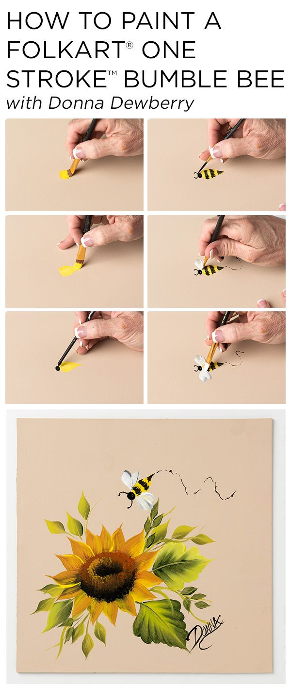 "Learn how to paint a sweet One Stroke Bumblebee using a small palette of FolkArt Multi-Surface Acrylic paints and just a few brushes with Donna Dewberry's acclaimed ""One Stroke Painting"" technique."