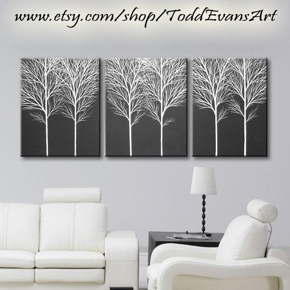 48 inches, 3 piece Wall art set, Large Canvas Trees, set of 3, black and white art painting tree decor original white black by ToddEvansArt, $100.00