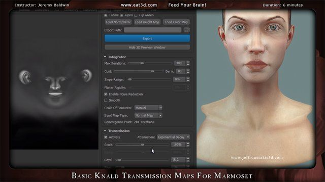 In this demonstration Jeremy Baldwin shows how to generate Transmission maps within Knald to be used in Marmoset Toolbag 2 for skin shaders. About Eat 3D: Eat 3D has been feeding your brain for 6 years with some of the highest quality training that exists. Our goal is to provide you with the best education and get straight to the point with practical real world exercises that professionals actively use in production.