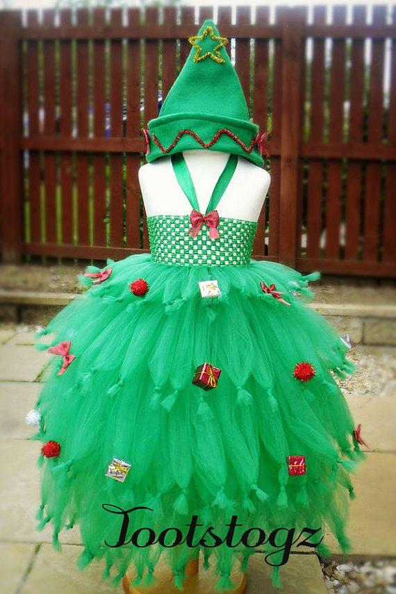 Christmas Xmas Tree girls tutu dress Halloween dress up